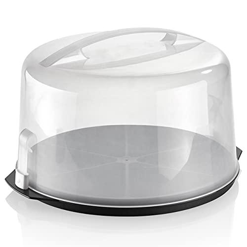 Grizzly runde Torten-Transportbox mit Klick-Verschluss, Ø 35 cm, 20 cm hoch, Tortenhaube mit Stückeinteilungshilfe, Tortenbox extra hoch