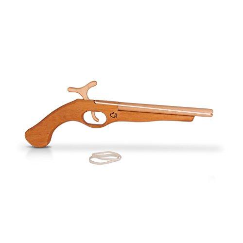 BestSaller Kinder Piraten Pistole Gewehr aus Naturholz Revolver Karabiner Cowboy Gummibandpistole