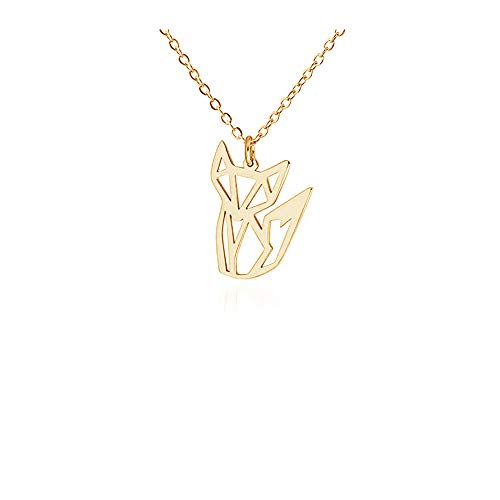 AOCHEE Gold Fox Necklace Fox Origami Necklace Fox Pendant Necklace for Women Girls Animal Jewelry
