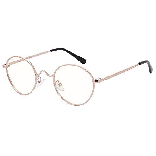 Cyxus filtro de luz azul gafas redondo marco [lentes transparentes] eliminar la fatiga de los ojos computadora vidrios unisexo(hombres/mujeres) oro marco