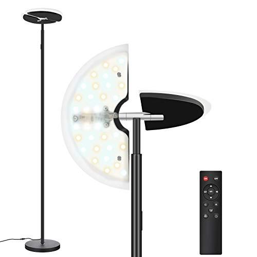 Stehlampe LED Dimmbar, Bomcosy Stehleuchte Dimmbar, Deckenfluter mit Verstellbare Leselampe, 3 Farbtemperaturen, mit Fernbedienung, Berühren Sie die Taste, für Wohnzimmer Büro Schlafzimmer, 30W