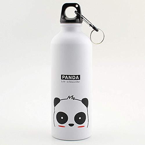 htrdjhrjy Sicherheit Kinder Wasserflasche Aluminium Flasche Niedliches Tier für Kaffee Tee Trinkflasche Sports Flasche mit Karabiner - Panda