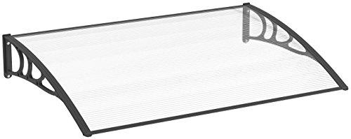 Schulte Vordach Emma, 120x80 cm, Polycarbonat Hohlkammerplatte klar, Kunststoff Wandhalterungen Schwarz, Pultbogenvordach Überdachung Haustürvordach