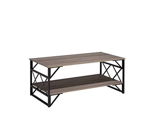 Beliani - Table Basse - Bolton - 120 x 61 cm, en MDF et Métal, Bois Foncé, Taupe et Noir