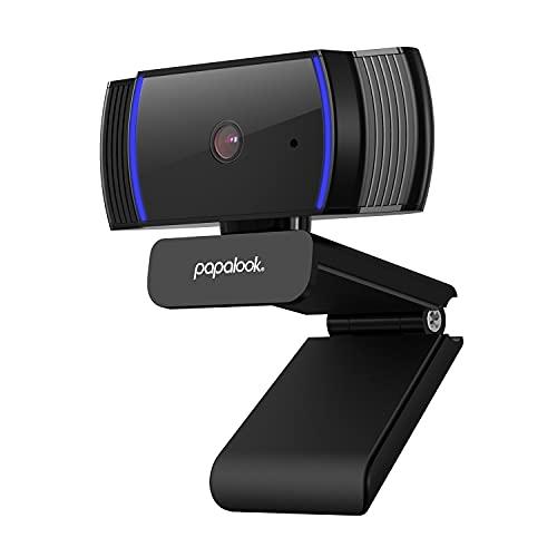 papalook AutoFocus Webcam 1080P con Microfono para PC, AF925 USB Cámara Web Enfoque Automático para Streaming en Vivo, CAM Compatible con Zoom/Skype/Teams, Mac/Portátil/Computadora/Ordenador - Negro