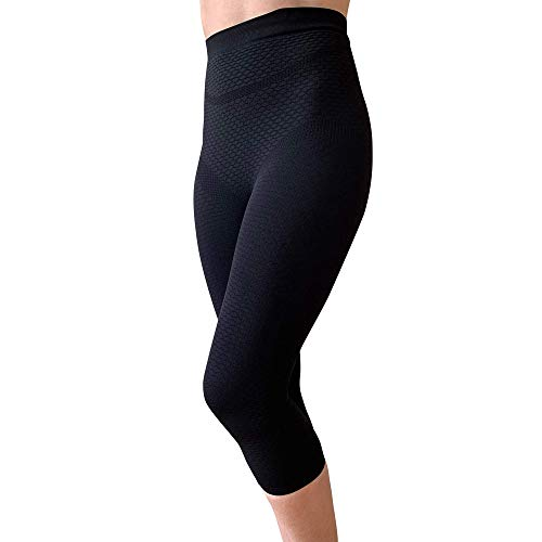 BIOFLECT® Compression Capri Leggings with Far Infrared Therapy and Micro-Massage Knit - Slimming Support and Comfort - Lipedema, Lymphedema, Inflammation - Black XL