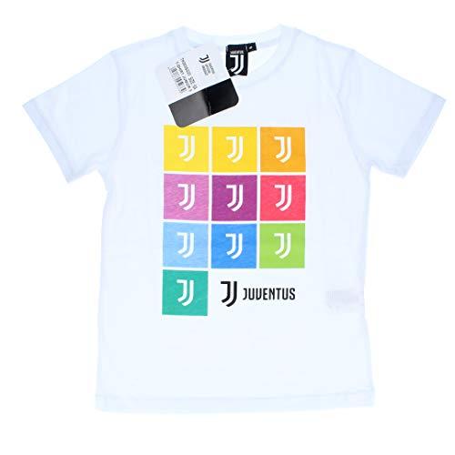 Juventus Maglietta T-Shirt Bianca con Loghi su Sfondi Multiclore - Bambino - 100% Originale - 100% Prodotto Ufficiale - Collezione 2020/2021 - Scegli la Taglia (8 Anni)