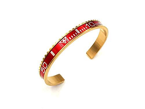 Armband stopwatch kleur rood van verguld staal en kroon vergelijkbaar met Rolex (modesieraad)