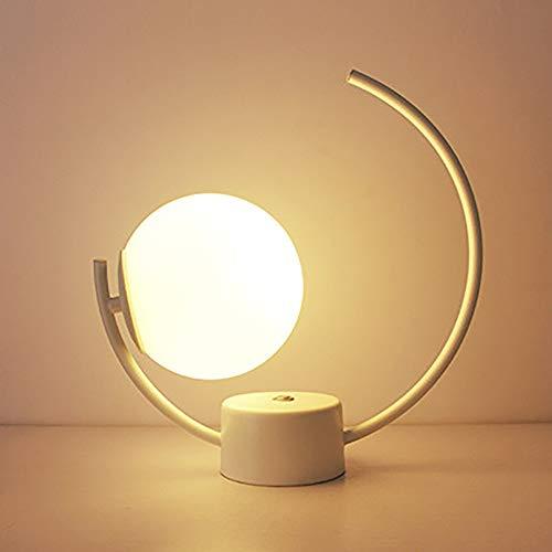 RGF Creative Modern Simple LED Blanco/Negro Metal E27 - Lámpara de Mesa/luz Nocturna (Color : White, Size : B)