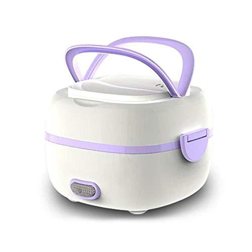 KOBWA Multifunctional Electric Lunch Box, Mini Rice Cooker, Portable Food Heater Steamer with Stainless Steel Bowls, Egg Steaming Rack, Spoon, Measuring Cup for Use in Office Outdoor School (Purple)
