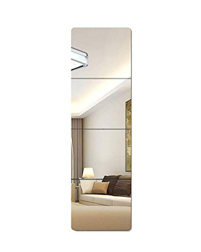 Lecerent Full Length Wall Mirror with Acrylic Adhesive Tapes, 4pcs Frameless Body Mirror Tiles for Bedroom Bathroom Home Gym Closet Door