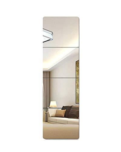 Lecerent Espejo de pared de longitud completa con cintas adhesivas acrílicas, 4 piezas sin marco de espejo para dormitorio, baño, hogar, gimnasio, puerta de armario