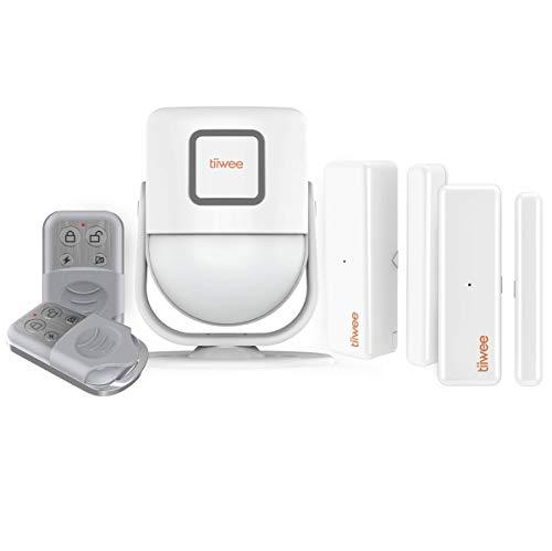 tiiwee X4 Détecteur de Mouvement et Alarme à Sirène 125 DB - Système d'Alarme Antivol - 2 Télécommandes et 2 Détecteurs de Porte et de Fenêtre - à Utiliser dans la Maison, Le Garage, l'Abri de Jardin