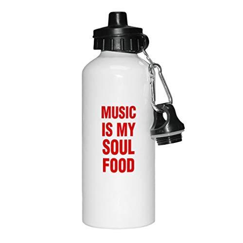 aqf527907 Rode Muziek is Mijn Ziel Voedsel Nieuwigheid Wit Sport Waterfles Aluminium, School Water Fles, Verjaardag, voor Mannen, voor Vrouwen