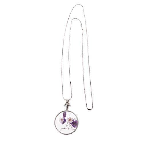 WTALL Collar de flores secas, colgante de collar, collar de flores secas naturales collar colgante prensado lavanda plantas de vidrio joyería
