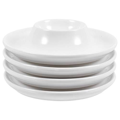 Cabilock Huevera de porcelana, color crema, soporte para huevos con soporte, juego de desayuno para huevos duros, para casa, cocina, restaurante, 10 cm, 4 unidades, color blanco