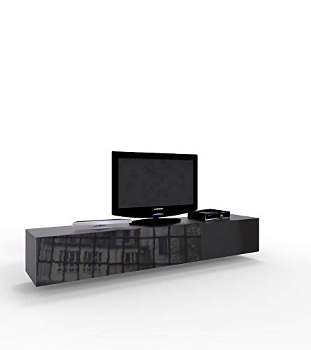 High Gloss TV Stand Entertainment Cabinet - 180cm Floating Wall Unit - 7 Colours (Black)