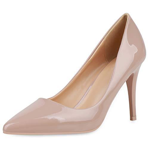 SCARPE VITA Damen Spitze Pumps Elegante Lack Schuhe Stiletto Abendschuhe High Heels Absatzschuhe 190441 Nude 39
