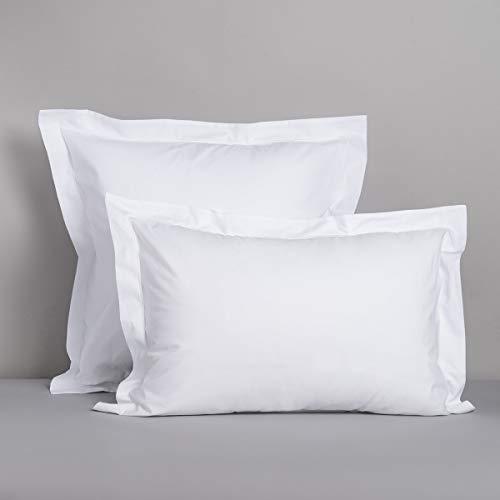 Cotton & Co – Funda de almohada percal de algodón egipcio de 160 hilos – 400 Tc Stockholm, blanco, 50_x_70_cm