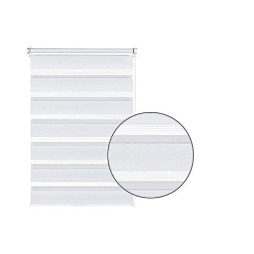 GARDINIA Doppelrollo zum Klemmen oder Kleben, Duo-Rollo/ Seitenzugrollo, Transparente und blickdichte Streifen, Alle Montage-Teile inklusive, Weiß, 120 x 150 cm (BxH) - 2