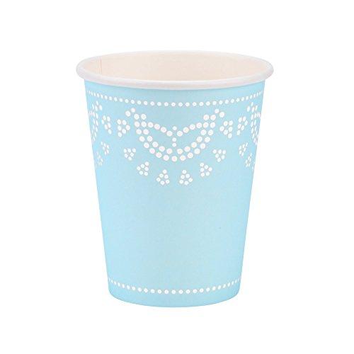 10 vasos de papel con encaje blanco y perlas en color azul pastel 'White Lace'