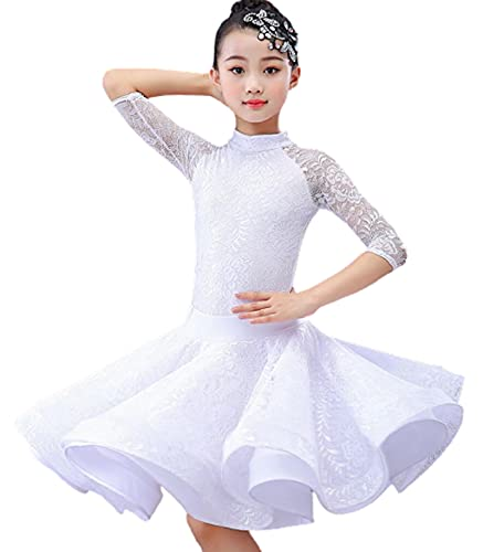 SHADIOA Falda de Baile Latino para nias, Vestido nia Encaje, Competencia nios, saln Baile, Falda Tango, Salsa, Ropa prctica,D,L