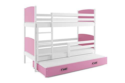 Interbeds Etagebett Tami 3 (für DREI Kinder), Farbe: Weiβ 190x80cm, mit Lattenroste und Matratzen (ROSA)