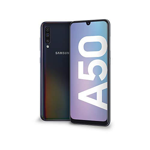 Samsung Galaxy A50 Display 6.4', 128 GB Espandibili, RAM 4 GB, Batteria 4000 mAh, 4G, Dual SIM Smartphone, Android 9 Pie, (2019) [Versione Italiana], Nero.