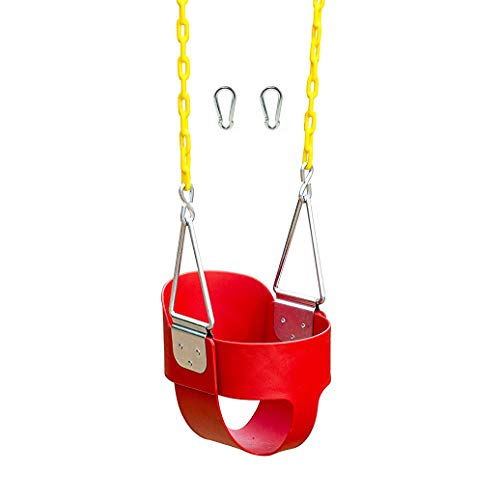 Squirrel Products High Back Full Bucket Toddler Swing Seat with Plastic Coated Chains and Carabiners for Easy Install - Red