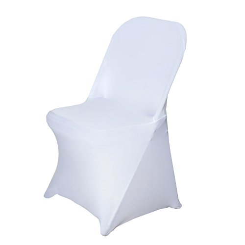 BalsaCircle 50 pcs White Spandex Stretchable Folding Chair Covers for Party Wedding Linens Decorations Dinning Ceremony Reception Supplies