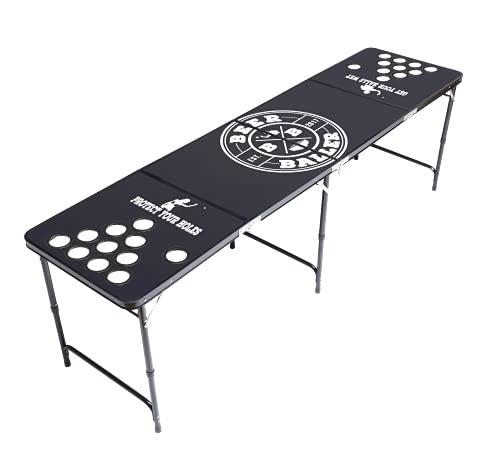 BeerBaller® ALLBLACK Beer Pong Tisch mit Löcher - schwarzes Gestell und Kratzfeste Oberfläche | Klappbarer Bier-Pong Tisch mit Bällehalter und 6 Bier-Pong Bällen