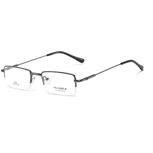 Ultraleichte Rechteckige Lesebrille aus Edelstahl mit Federscharnieren Sehehilfe für Damen und Herren mit Halbrahmen Lesehilfe(Grau,+1.5)