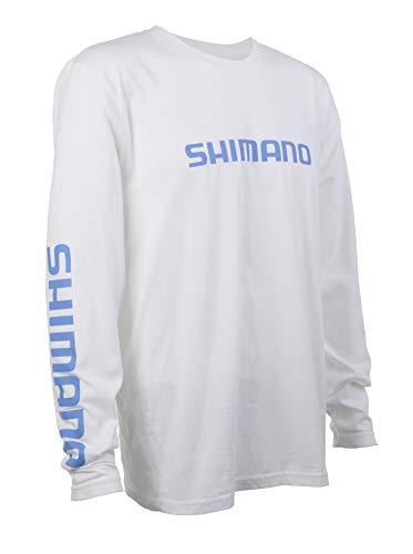 SHIMANO Long Sleeve Cotton Tee Fishing Gear, White, X-Large