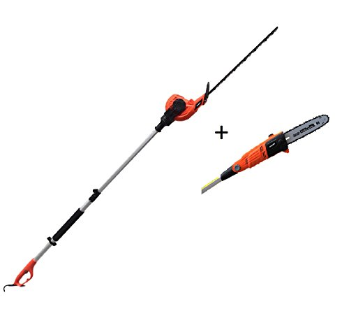 eSkde LPHTCS1 Long Reach Telescopic Pole Hedge Trimmer Chainsaw Combi Kit, 600 W, 240 V, Black and Orange