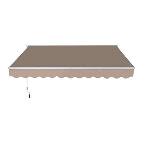 Outsunny 10' x 8' Patio Retractable Awning Manual Exterior Sun Shade Deck Window Cover, Beige