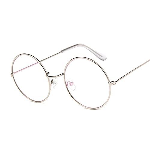 FEIHAIYANY Gafas de sol redondas para mujer con marco de gafas falsas para mujer, montura de gafas doradas, lentes transparentes transparentes (color: plata)