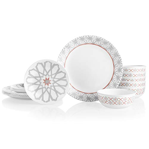 Corelle 18-Piece Service for 6, Chip Resistant Dinnerware Set, Amalfi Rosa