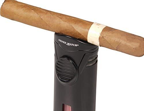 Lifestyle-Ambiente Silver Match Jet-Cigarren-Feuerzeug Debden mit Cigarrenablage