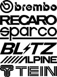 2set (per un totale di 12 pezzi) di adesivi con logo degli sponsor delle gare automobilistiche, divertenti adesivi, in vinile, con logo JDM, VW, VAG, per finestrino o paraurti dell'auto