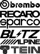 Unbekannt Tuner Logo Autoaufkleber Sponsoren Marken 2 Bögen (2 x 6 = 12 Aufkleber) 20cm Decals Tuning Brembo Blitz Tein Alpine Recaro
