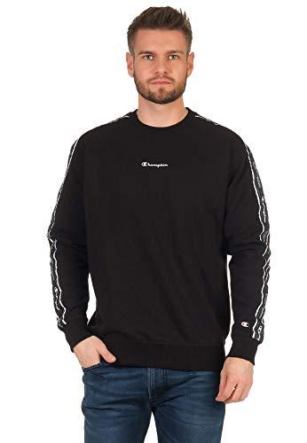 Champion Seasonal American Tape Crewneck Sweatshirt Camisa de Entrenamiento, Black, M para Hombre