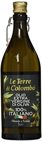 Le Terre di Colombo – Bouteille d'huile d'olive extra-vierge 100% italienne avec bouchon mécanique, 1l, Bouteille nervurée