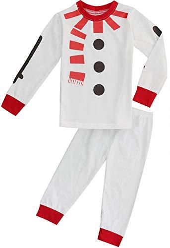 FANCYINN Chicos Chicas Conjuntos de Pijamas de Navidad Niños pequeños Reno Disfraz Manga Larga Ropa de Dormir Traje de Dormir Monigote de Nieve 100