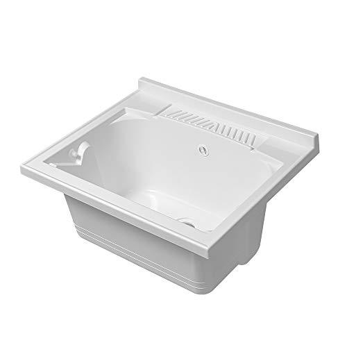 Lavatoio-Lavapanni in Resina, Bianco, 45x50-45x60-50x50-60x50-60x60, Ideale per Installazione su Mobile o Piano da appoggio (60x50)