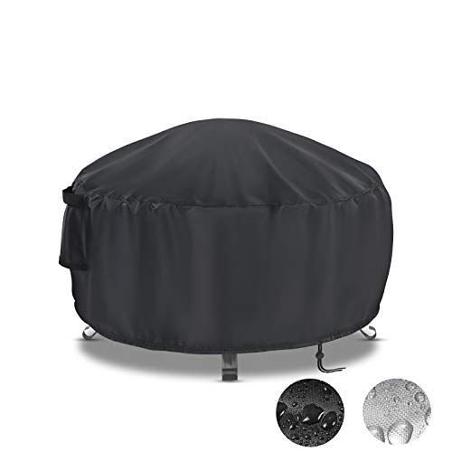 Onlyme Round Gas Fire Pit Cover 50 Inch Waterproof Oxford Fabric Fire Pit Table Cover for Outdoor and Indoor, Anti-UV, Windproof - Black ( 50 x 24 inch)