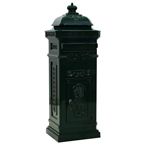 Festnight Säulenbriefkasten Standbriefkasten Vintage-Stil Briefkasten aus Rostfrei Aluminiumguss Grün 35,5 x 32 x 102,5 cm