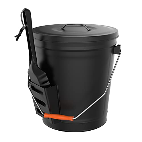 Pure Garden 50-210 Black Ash Bucket with Lid and Shovel for Fireplace