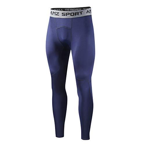 AMZSPORT Mallas de Compresión Térmica para Hombres Mallas con Base de Vellón Pantalones para Correr en Invierno, Azul Azul, XL