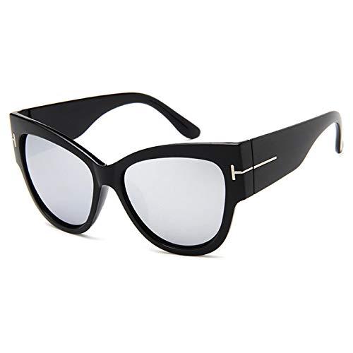 Gafas De Sol De Marca para Mujer, Diseñador De Lujo, Moda, Ojo De Gato Negro, Gafas De Sol De Gran Tamaño, Gafas De Sol Graduadas para Mujer, 03 Negro-Plata