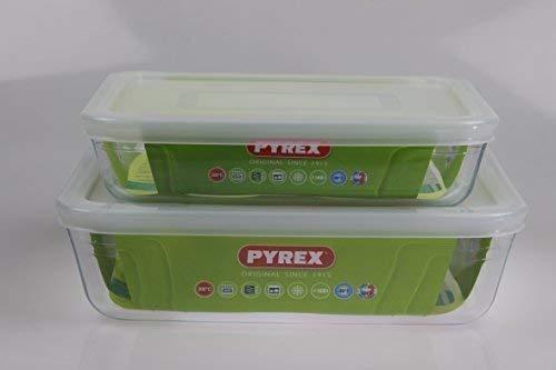 Pyrex, Set of 2 Pyrex Dishes with plastic lids Roaster/Storage FREE UK POSTAGE. Sizes 22cm/1.5L & 19cm/0.8L